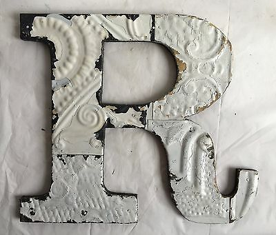 "Large Antique Tin Ceiling Wrapped 12"" Letter 'R' Patchwork Metal Mosaic White A3"