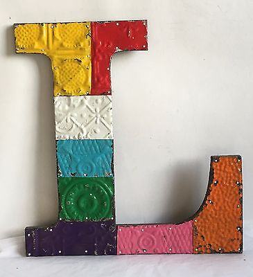"""Large Antique Tin Ceiling Wrapped 16"""" Letter """"L'' Patchwork Metal Chic Multi B87"""