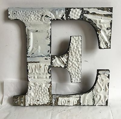 """Large Antique Tin Ceiling Wrapped 12"""" Letter 'E' Patchwork Mosaic White  A1"""