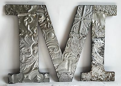 """Large Antique Tin Ceiling Wrapped 16"""" Letter 'M'' Patchwork Metal Silver B78"""