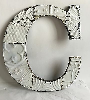"""Large Antique Tin Ceiling Wrapped 16"""" Letter 'C' Patchwork Metal White B71"""