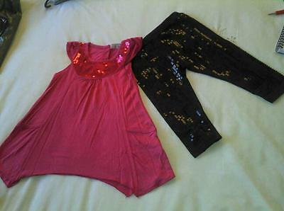 Brand New girls 2 peice top and sequience legging set outfits age 2-3yrs