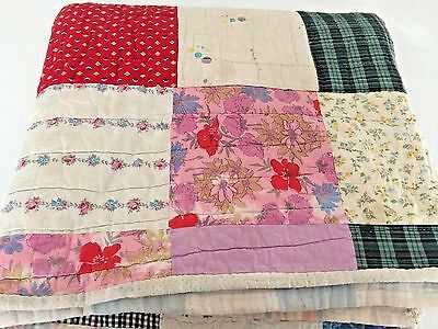 Gorgeous Antique VTG Handmade Quilt 74x70 Patchwork Full Twin Over 100 Yrs Old!