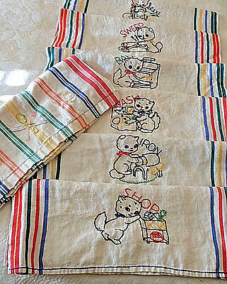 Vtg 7 Embroidered Kitchen Linen Towels Cats Kittens Daily Household Chores Tasks
