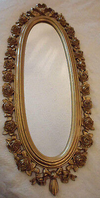 """Vintage Wall Mirror Syroco Oval Gold Tone Roses Floral Filigree Dart 10.5"""" x 20"""""""