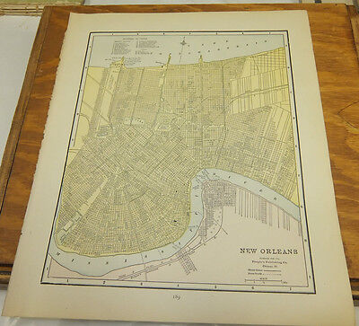 1890 Antique COLOR Map///NEW ORLEANS, LOUISIANA, b/w SAN FRANCISCO, CALIFORNIA