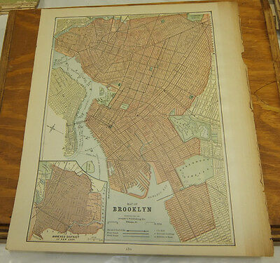 1890 Antique Map///BROOKLYN, NEW YORK, b/w NEW YORK CITY (SOUTHERN PART)