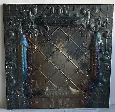 1890's  22.5 x 22.5 Antique Tin Ceiling Tile Bare Metal Wrapped Wall Art j
