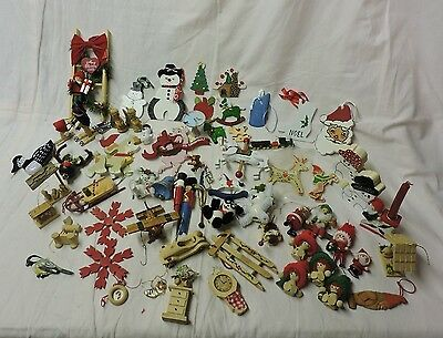 60 Vintage Wooden Christmas Ornaments, Variety