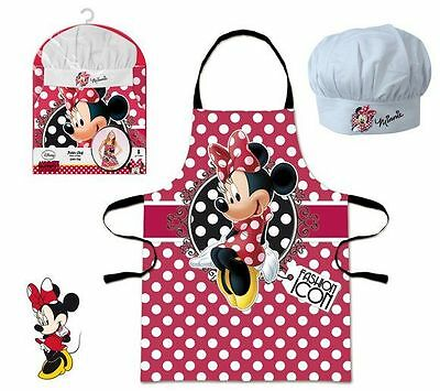Girls Disney Minnie Mouse Chef Cook Baking Gift Set Includes Apron And Hat