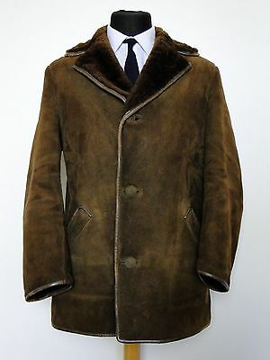 vtg 60s HIGH SOCIETY QUALITY ENGLISH MADE HEAVY SHEEPSKIN WINTER COAT M 38 97cm