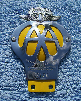 VINTAGE 1950s ZAMBIA AUTOMOBILE ASSOCIATION CAR BADGE - AFRICA AA EMBLEM RARE