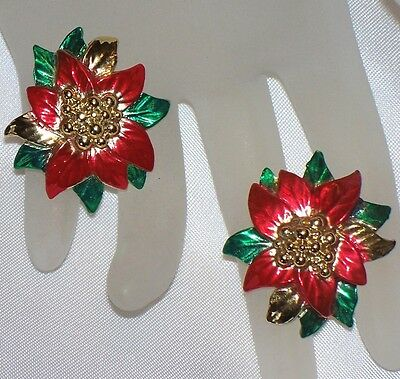 Red & Green Enamel Gold Tone Christmas Poinsettia Earrrings  M760