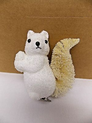 White Squirrel w/Bottle Brush Tail Christmas Tree Ornament 4 In tall Clips On