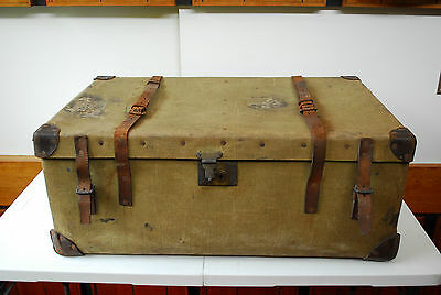 Large travelling trunk shipping chest vintage automobilia military coffee table