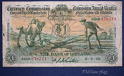 1939 One pound £1 Currency Commission Bank of Ireland banknote Ploughman [7643]
