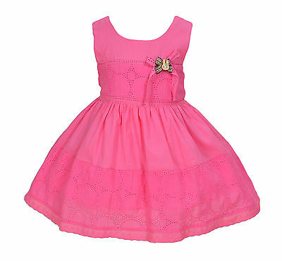 New Baby Girls Hot Pink Cotton Party Dress 12-18 Months