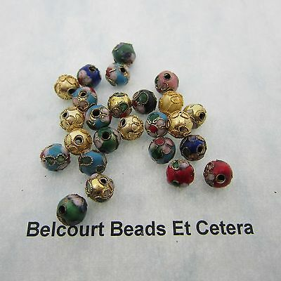100 - Assorted 8mm Round Imperfect Cloisonne Beads Red Blue Gold Black White