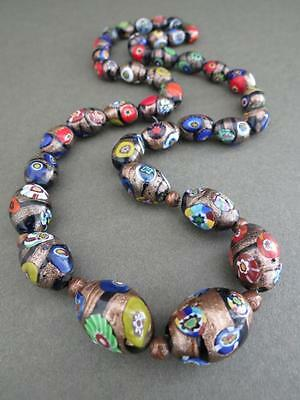 Vintage Murano Venetian Aventurine Millefiori Large Glass Necklace