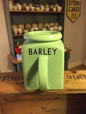 Vintage Green Bristol Kitchen Ware Storage Jar – Barley – Great! –