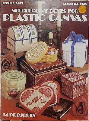 """""""Needlepoint Boxes Plastic Canvas"""" Leisure Arts 166 counted cross stitch pattern"""