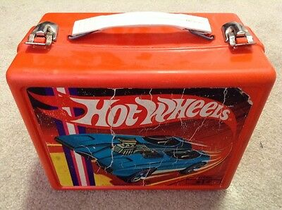 Vintage 1969 Hot Wheels Redlines Orange Plastic Lunch Box!
