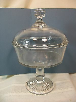 Antique Clear Glass Covered Compote