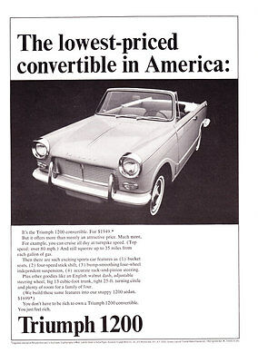"1965 Triumph 1200 Convertible photo ""Lowest-Priced in U.S."" promo print ad"