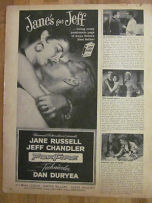 Foxfire, Jane Russell, Jeff Chandler, Great Promotional Ad