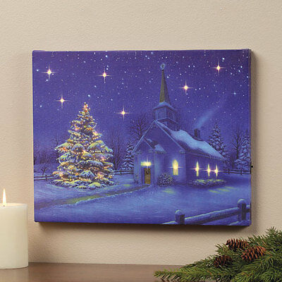 LED Lighted Twinkling Church Scene Christmas Wall Canvas