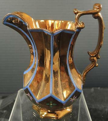 Antique Hand Painted Inverted Pleated Pitcher