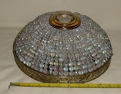 "Bronze Czech Crystal Beads Empire Style Ceiling Fixture Light  Sconce 12"" Wired"