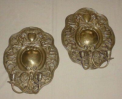 ANTQ CIRCA 19th PAIR BRONZE & BRASS CHURCH WALL SCONCES 2 CANDLES CHERUBS ANGELS