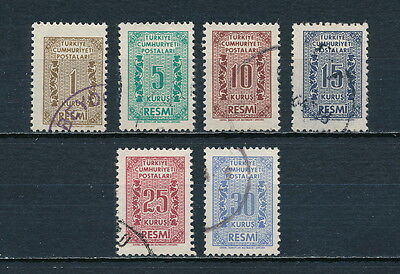 Turkey #O76-81 used, Official  Use 1962