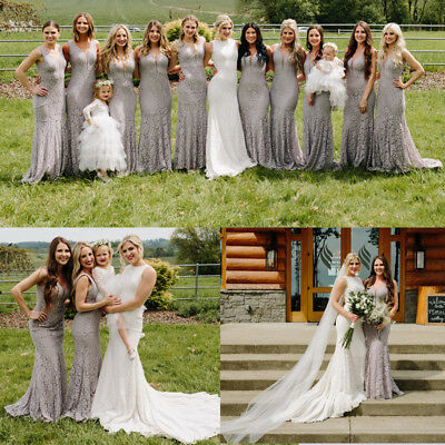 Womens Lace Long Mermaid Bridesmaid Dresses Formal Evening Prom Gown 08838