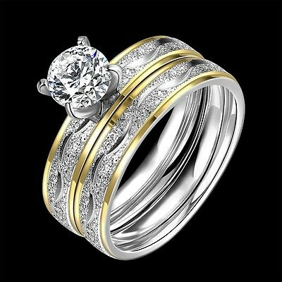 Classic 316L Titanium Steel 2 Tone 2 Ring Sets CZ Woman ring Size7, 8 R-A316