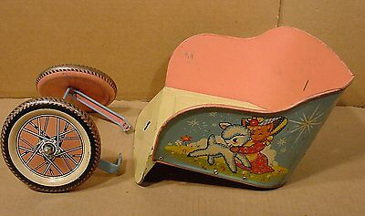 Vintage Tin Doll Carriage Pull Toy / Parts only