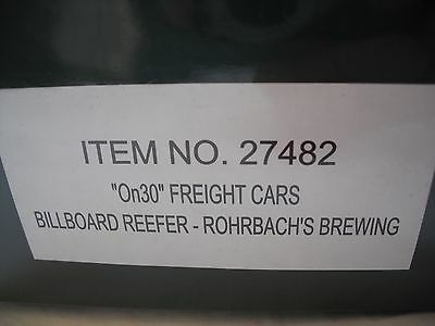 Spectrum 27482 Billboard Reefer Freight Train Car, Rohrbach's Brewing,On30 Scale