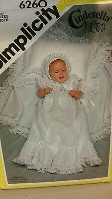 SIMPLICITY  sew pattern 6260  ALL SIZES CINDERELLA CHRISTENING GOWN BABY DRESS