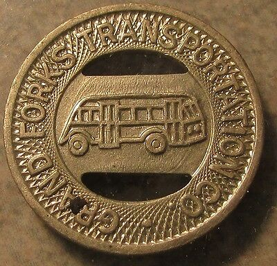1940 Grand Forks, ND Transportation Co. Transit Bus Token - North Dakota