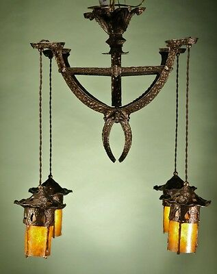 Bronze Hammered Chandelier Arts and Crafts