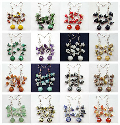 Pair Of Fashion Natural Mixed Gemstone Round Ball Beads/Chip Earrings XJ-793