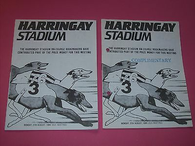 2 x Harringay race cards 1984 Oaks Trial Stakes greyhound racing programme DOGS