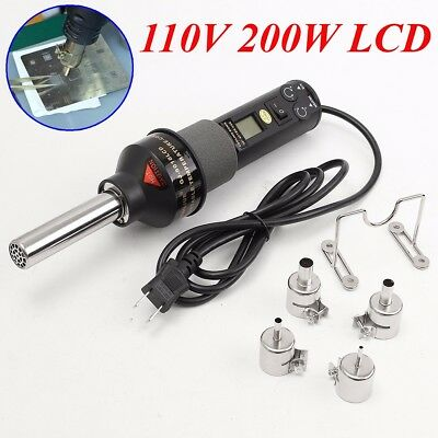 110V 200W LCD Hot Air Gun Heat Gun Soldering Station ICs SMD for BGA Nozzle New