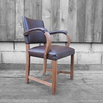 1930s Art Deco Office Desk Chair  Brown Traditional Old Oak Leather Captains