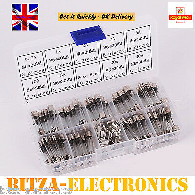 72Pcs 6x30mm Quick Fast Blow Electrical Glass Tube Fuse Assorted Kit UK Seller