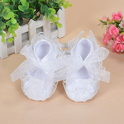 New Baby Girls White Satin Christening Party Shoes 3-6 Months