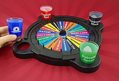 Wheel of Mis-Fortune Adult Drinking Game Roulette Board Party Shot Glasses