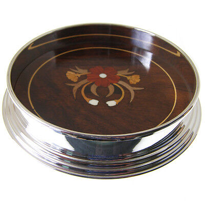 Magnum Silver Plated Wine Coaster. Brand New With Hand Inlaid Rosewood Base