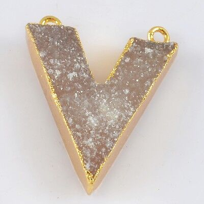 V-Shape Natural Agate Druzy Geode Connector Gold Plated H79160
